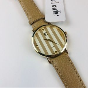 New Charming Charlie neutral beige gold watch
